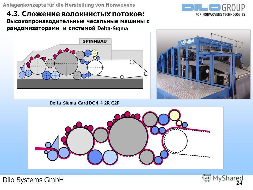 Anlagenkonzepte für die Herstellung von Nonwovens 04-09 | BE/beka |Anlagenkonzepte 24 4.3. Сложение волокнистых потоков: Высокопроизводительные чесальные машины с рандомизаторами и системой Delta-Sigma Delta-Sigma-Card DC 4-4 2R C2P Dilo Systems GmbH