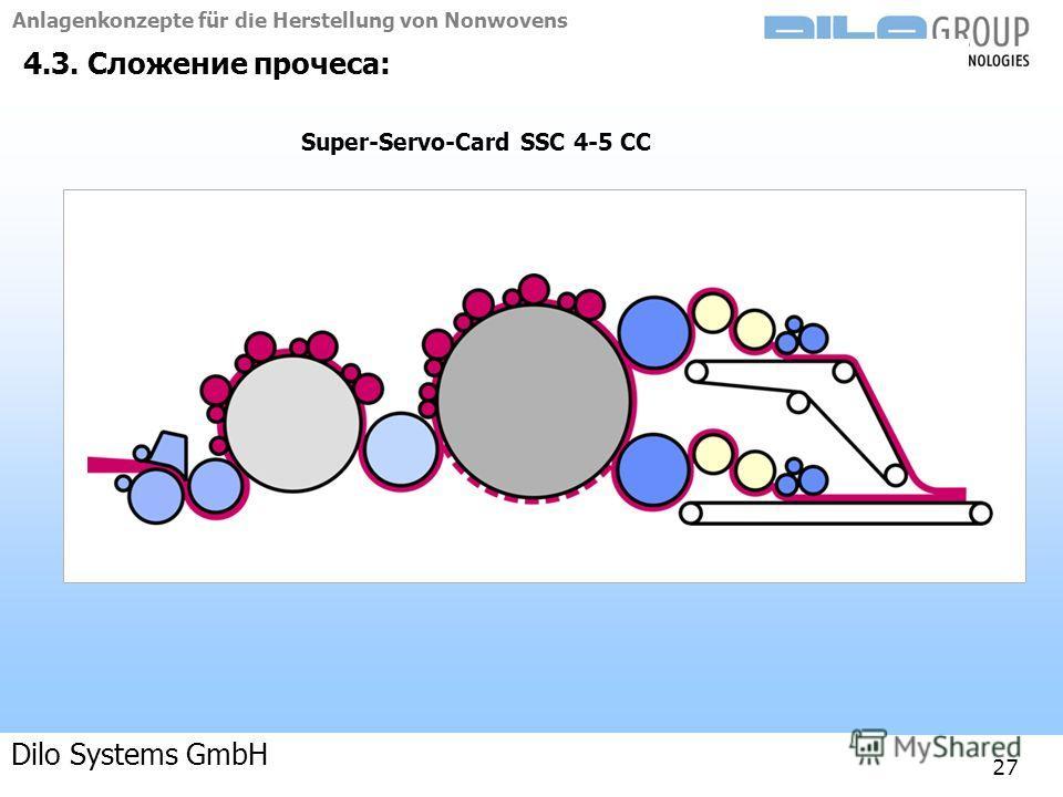 Anlagenkonzepte für die Herstellung von Nonwovens 04-09 | BE/beka |Anlagenkonzepte 27 4.3. Сложение прочеса: Super-Servo-Card SSC 4-5 CC Dilo Systems GmbH