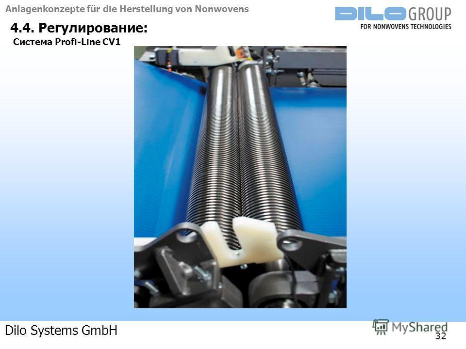 Anlagenkonzepte für die Herstellung von Nonwovens 04-09 | BE/beka |Anlagenkonzepte 32 4.4. Регулирование: Система Profi-Line CV1 Dilo Systems GmbH
