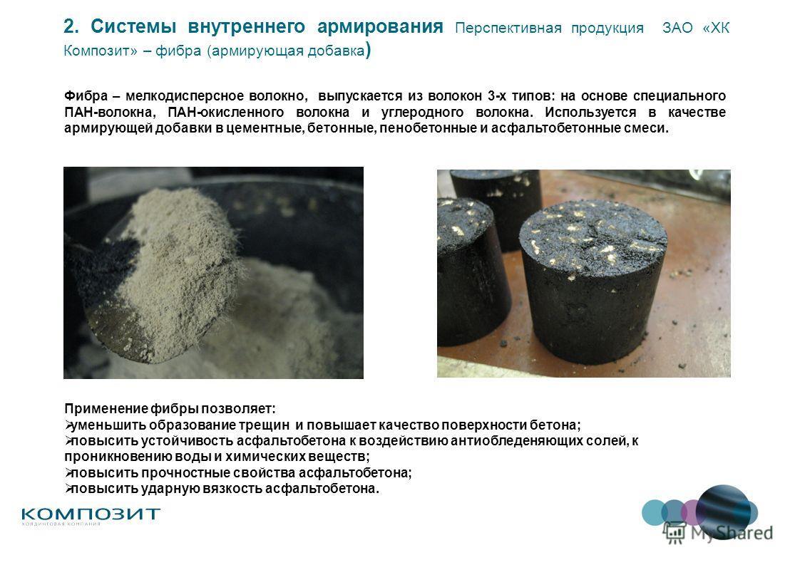 Фибра – мелкодисперсное волокно, выпускается из волокон 3-х типов: на основе специального ПАН-волокна, ПАН-окисленного волокна и углеродного волокна. Используется в качестве армирующей добавки в цементные, бетонные, пенобетонные и асфальтобетонные см