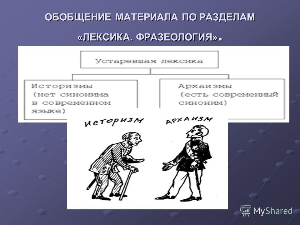 ОБОБЩЕНИЕ МАТЕРИАЛА ПО РАЗДЕЛАМ «ЛЕКСИКА. ФРАЗЕОЛОГИЯ».