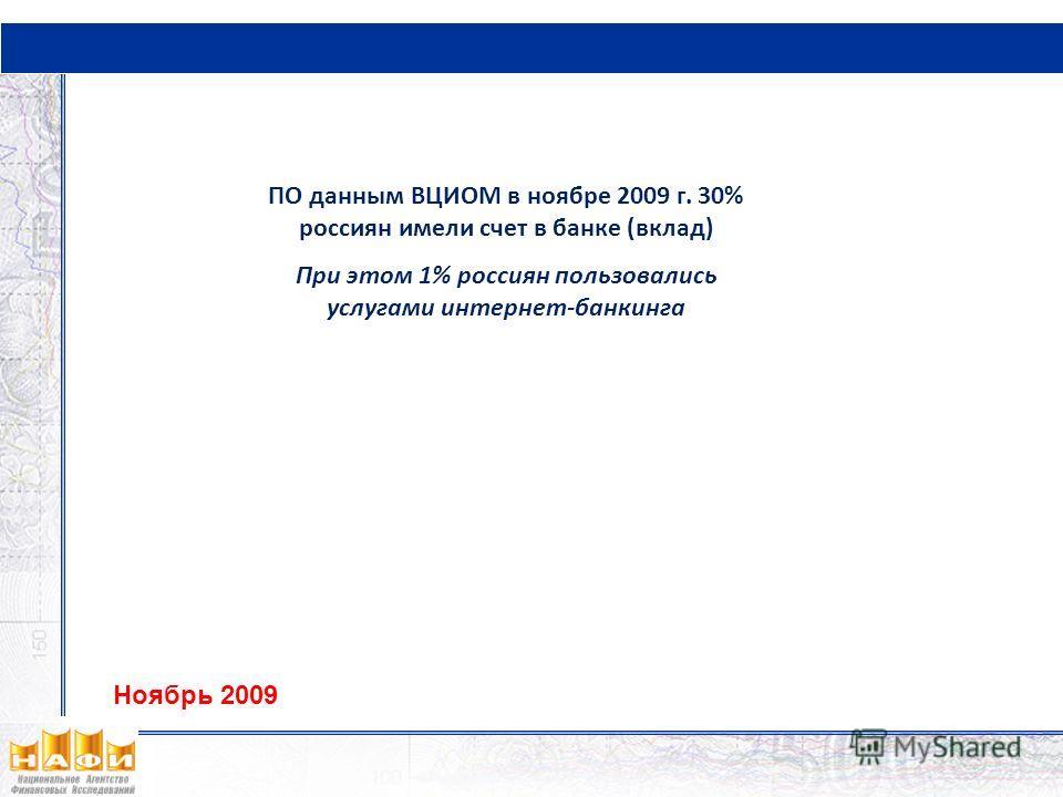 ПО данным ВЦИОМ в ноябре 2009 г. 30% россиян имели счет в банке (вклад) При этом 1% россиян пользовались услугами интернет-банкинга Ноябрь 2009