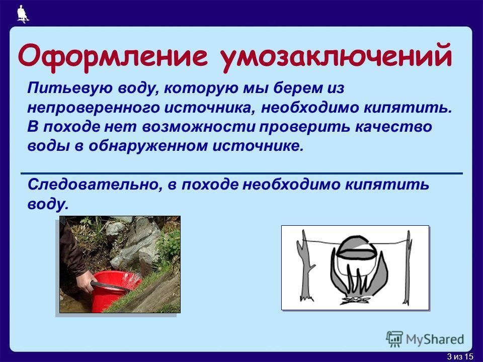 3 из 15 Питьевую воду, которую мы берем из непроверенного источника, необходимо кипятить. В походе нет возможности проверить качество воды в обнаруженном источнике. Следовательно, в походе необходимо кипятить воду. Оформление умозаключений