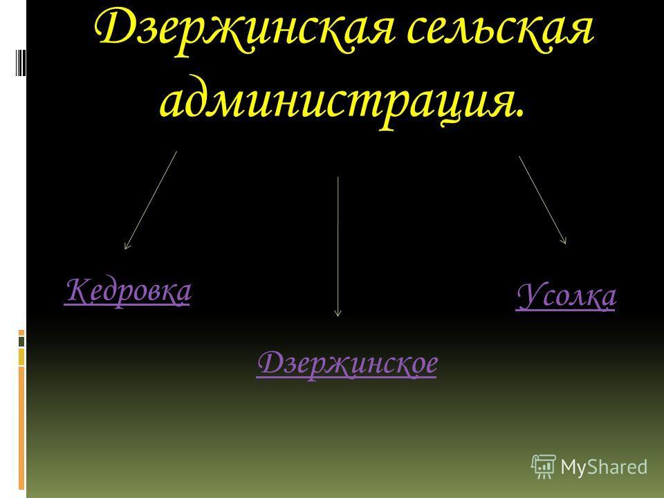 Дзержинская сельская администрация. Кедровка Дзержинское Усолка