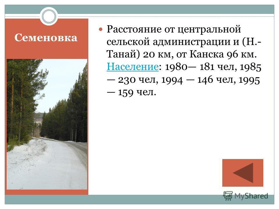 Семеновка Расстояние от центральной сельской администрации и (Н.- Танай) 20 км, от Канска 96 км. Население: 1980 181 чел, 1985 230 чел, 1994 146 чел, 1995 159 чел. Население