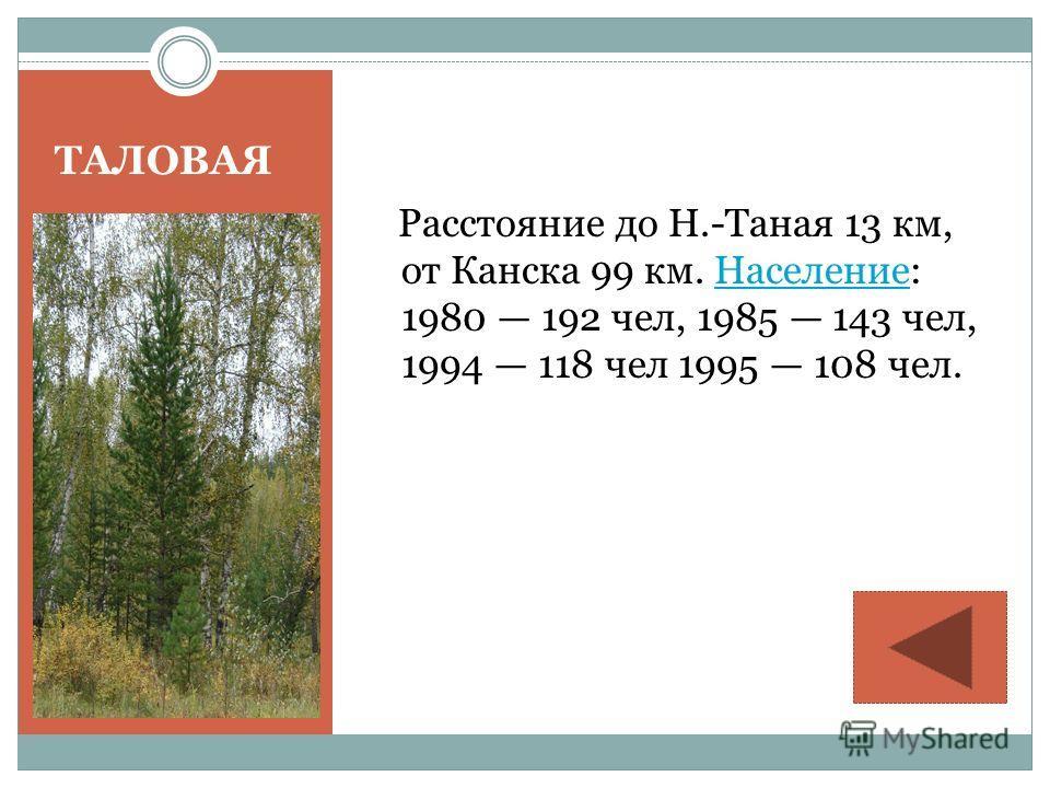 ТАЛОВАЯ Расстояние до Н.-Таная 13 км, от Канска 99 км. Население: 1980 192 чел, 1985 143 чел, 1994 118 чел 1995 108 чел.Население