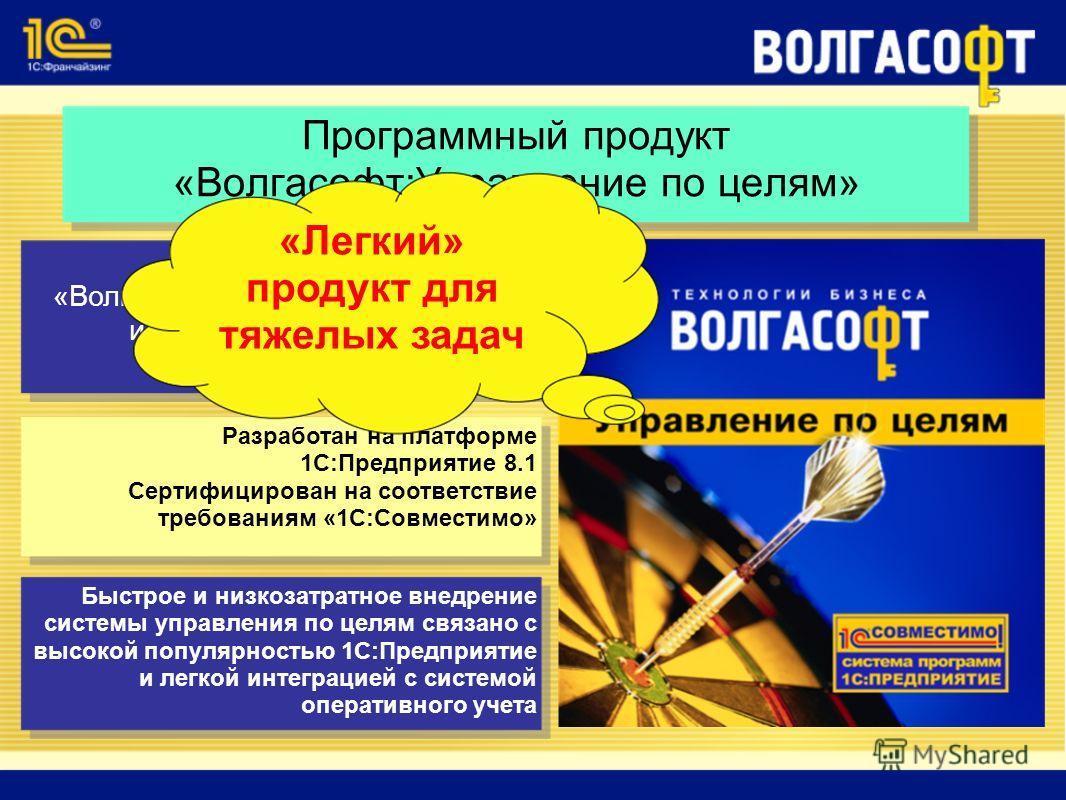 Программный продукт «Волгасофт:Управление по целям» Программный продукт «Волгасофт:Управление по целям» инструмент стратегического и оперативного управления Разработан на платформе 1С:Предприятие 8.1 Сертифицирован на соответствие требованиям «1С:Сов