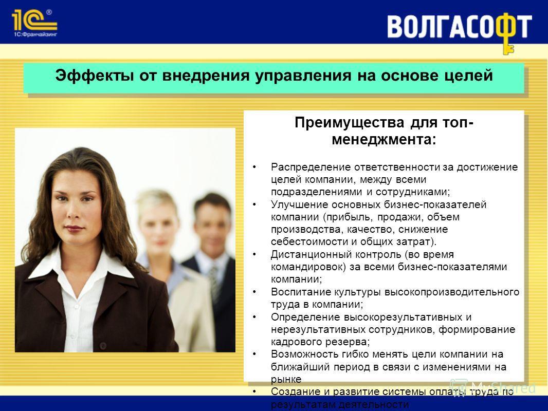 Эффекты от внедрения управления на основе целей Преимущества для топ- менеджмента: Распределение ответственности за достижение целей компании, между всеми подразделениями и сотрудниками; Улучшение основных бизнес-показателей компании (прибыль, продаж