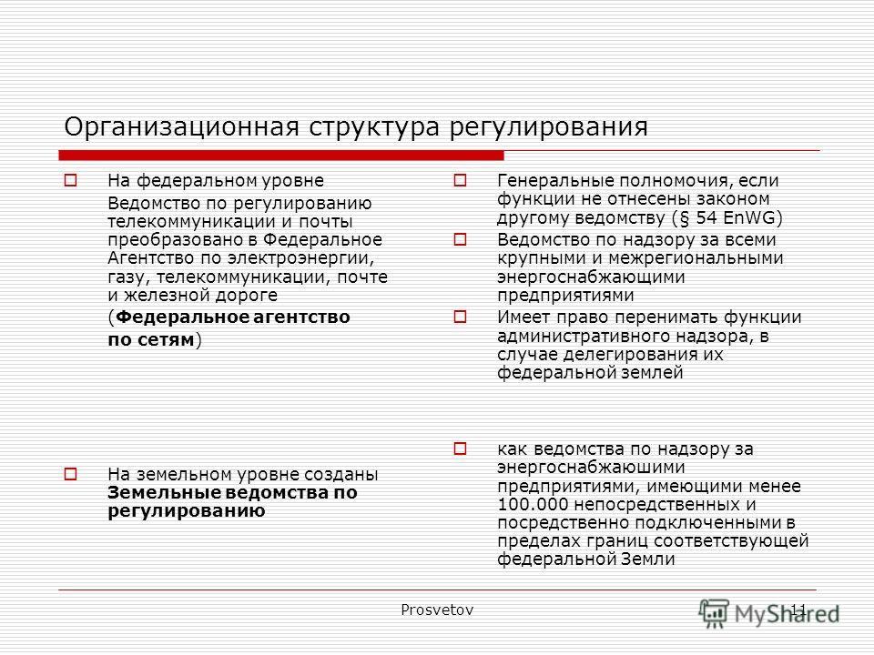Prosvetov11 Организационная структура регулирования На федеральном уровне Ведомство по регулированию телекоммуникации и почты преобразовано в Федеральное Агентство по электроэнергии, газу, телекоммуникации, почте и железной дороге (Федеральное агентс