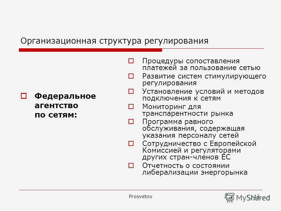 Prosvetov13 Организационная структура регулирования Федеральное агентство по сетям: Процедуры сопоставления платежей за пользование сетью Развитие систем стимулирующего регулирования Установление условий и методов подключения к сетям Мониторинг для т