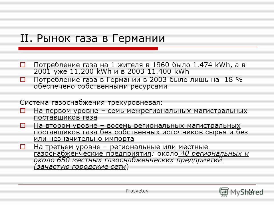Prosvetov22 II. Рынок газа в Германии Потребление газа на 1 жителя в 1960 было 1.474 kWh, а в 2001 уже 11.200 kWh и в 2003 11.400 kWh Потребление газа в Германии в 2003 было лишь на 18 % обеспечено собственными ресурсами Система газоснабжения трехуро