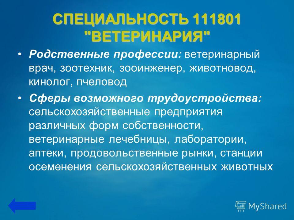 СПЕЦИАЛЬНОСТЬ 111801