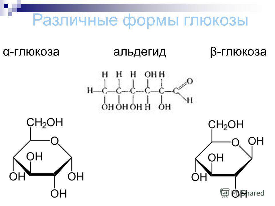 α-глюкоза альдегид β-глюкоза Различные формы глюкозы