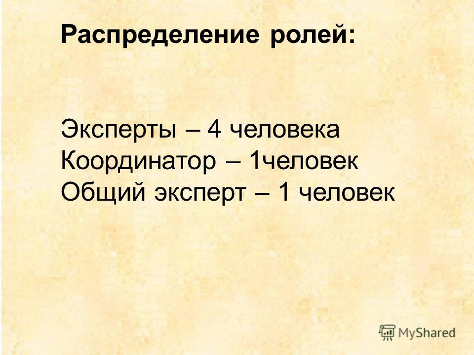 Распределение ролей: Эксперты – 4 человека Координатор – 1человек Общий эксперт – 1 человек