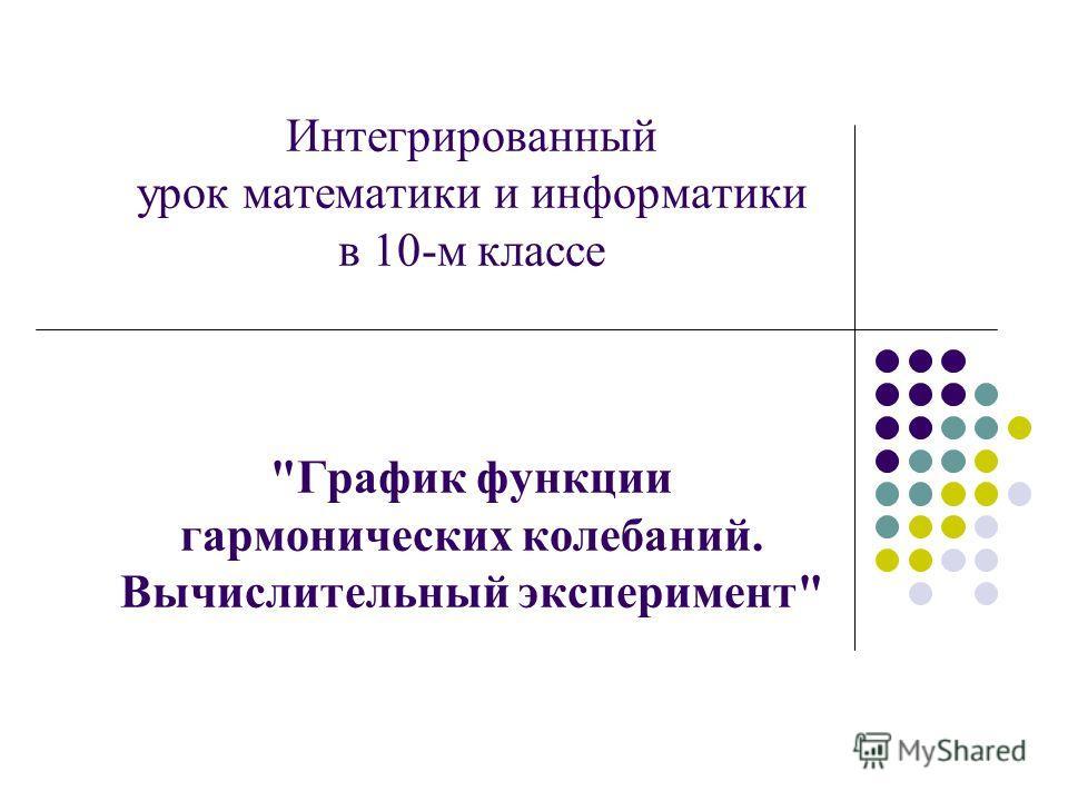 Интегрированный урок математики и информатики в 10-м классе График функции гармонических колебаний. Вычислительный эксперимент