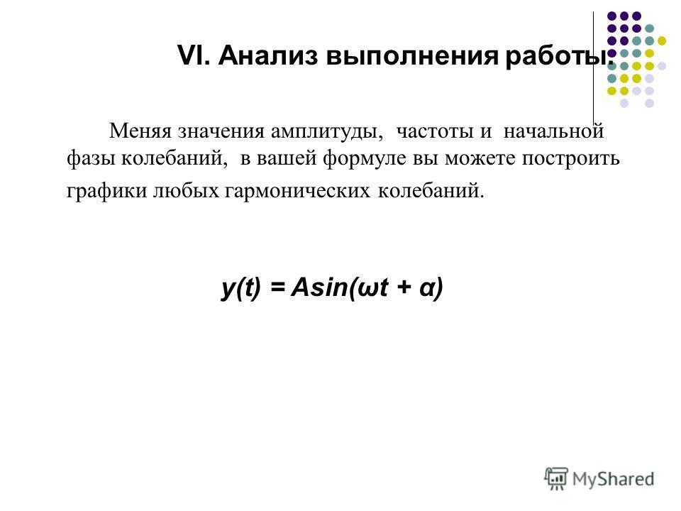 VI. Анализ выполнения работы. Меняя значения амплитуды, частоты и начальной фазы колебаний, в вашей формуле вы можете построить графики любых гармонических колебаний. y(t) = Asin(ωt + α)