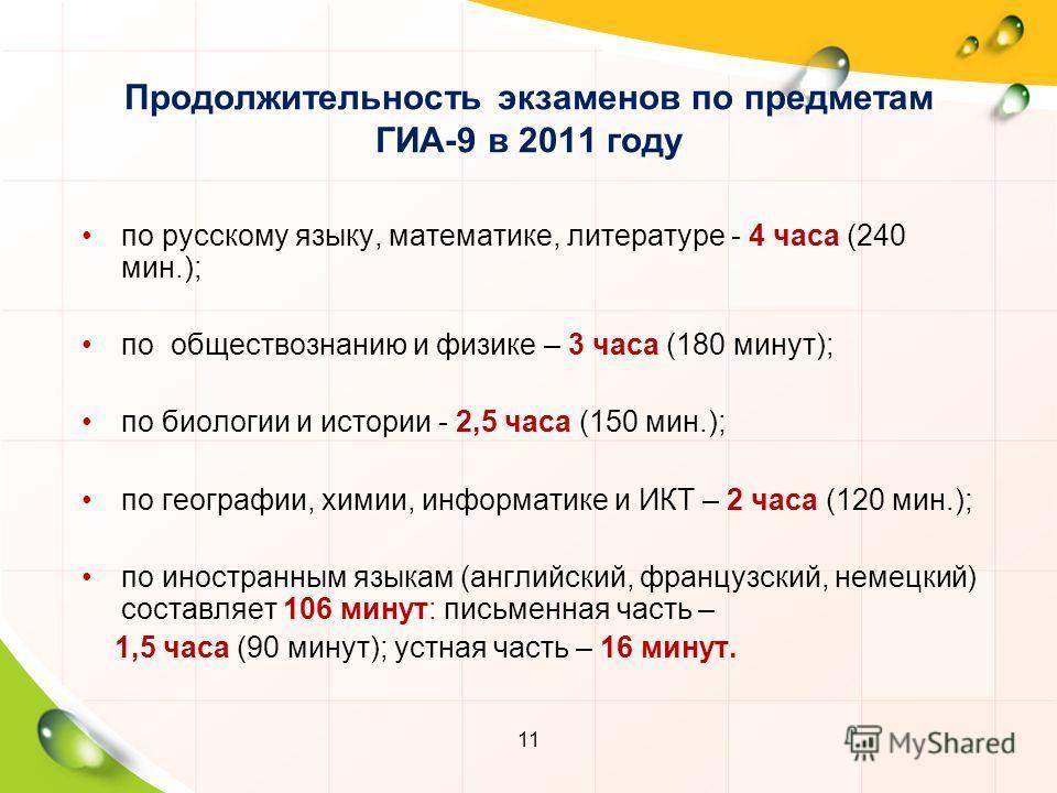 11 Продолжительность экзаменов по предметам ГИА-9 в 2011 году по русскому языку, математике, литературе - 4 часа (240 мин.); по обществознанию и физике – 3 часа (180 минут); по биологии и истории - 2,5 часа (150 мин.); по географии, химии, информатик