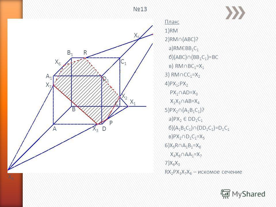 План: 1)RM 2)RM(ABC)? a)RMЄBB 1 C 1 б)(ABC)(BB 1 C 1 )=BC в) RMBC 1 =X 1 3) RMCC 1 =X 2 4)PX 1 ;PX 2 PX 1 AD=X 3 X 1 X 3 AB=X 4 5)PX 2 (A 1 B 1 C 1 )? а)PX 2 Є DD 1 C 1 б)(A 1 B 1 C 1 )(DD 1 C 1 )=D 1 C 1 в)PX 2 D 1 C 1 =X 5 6)X 5 RA 1 B 1 =X 6 X 4 X