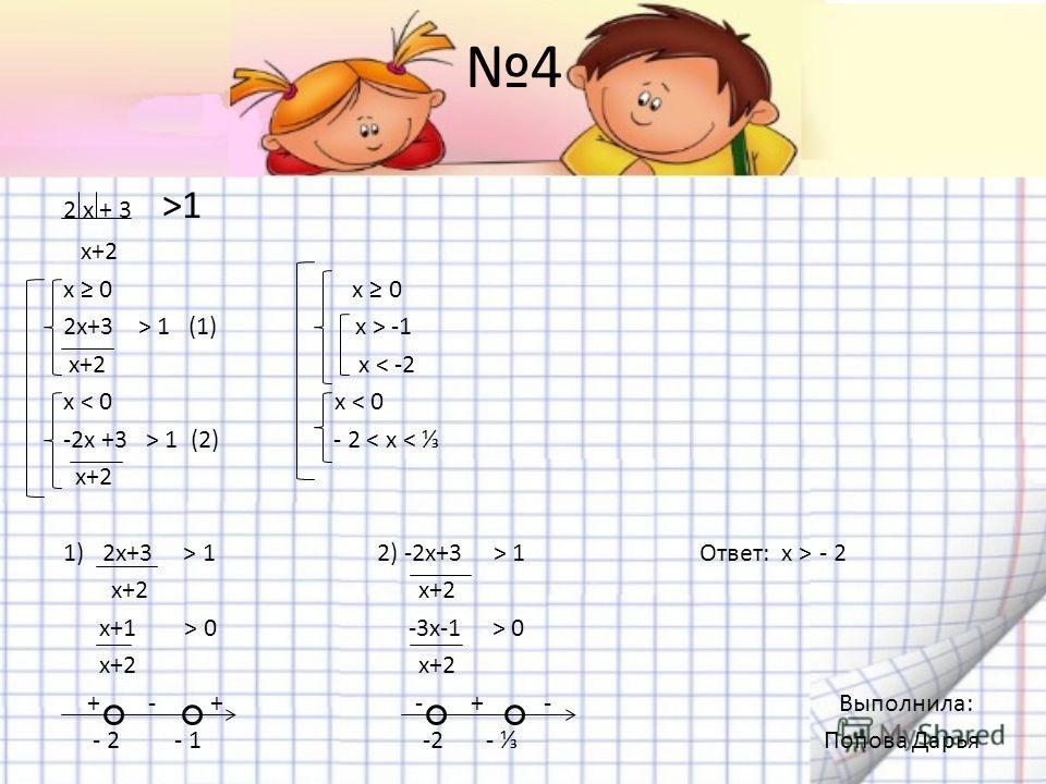 4 2 х + 3 >1 х+2 x 0 2x+3 > 1 (1) x > -1 x+2 x < -2 x < 0 -2x +3 > 1 (2) - 2 < x < x+2 1)2x+3 > 1 2) -2x+3 > 1 Ответ: х > - 2 x+2 x+2 x+1 > 0 -3x-1 > 0 x+2 x+2 + - + - + - Выполнила: - 2 - 1 -2 - Попова Дарья