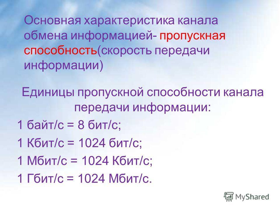 Основная характеристика канала обмена информацией- пропускная способность(скорость передачи информации) Единицы пропускной способности канала передачи информации: 1 байт/с = 8 бит/с; 1 Кбит/с = 1024 бит/с; 1 Мбит/с = 1024 Кбит/с; 1 Гбит/с = 1024 Мбит