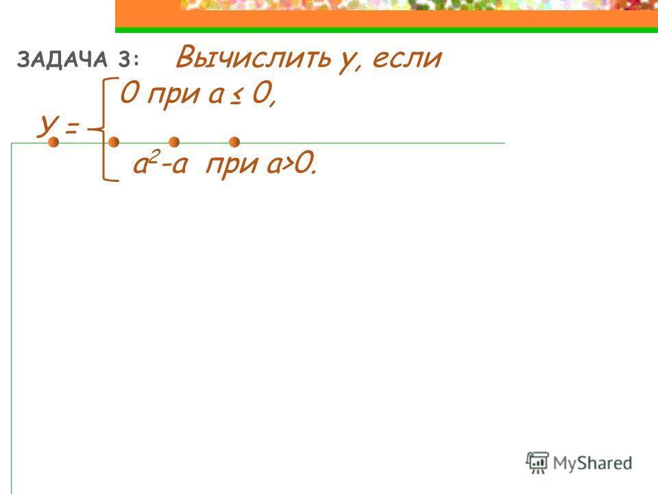 ЗАДАЧА 3: Вычислить у, если 0 при a 0, У = a 2 -a при a>0.