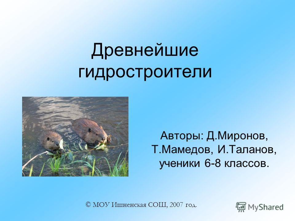 Древнейшие гидростроители Авторы: Д.Миронов, Т.Мамедов, И.Таланов, ученики 6-8 классов. © МОУ Ишненская СОШ, 2007 год.