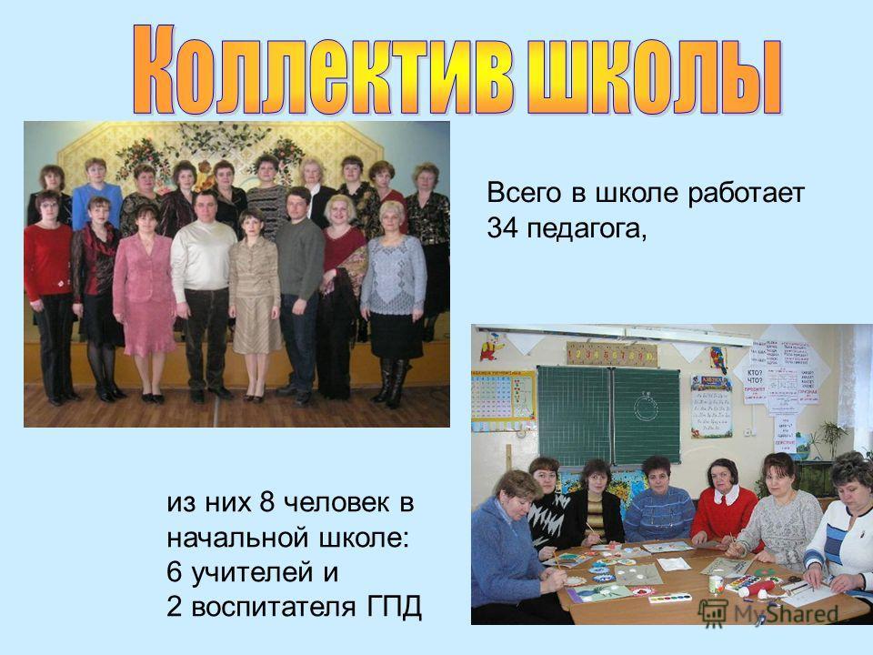 из них 8 человек в начальной школе: 6 учителей и 2 воспитателя ГПД Всего в школе работает 34 педагога,