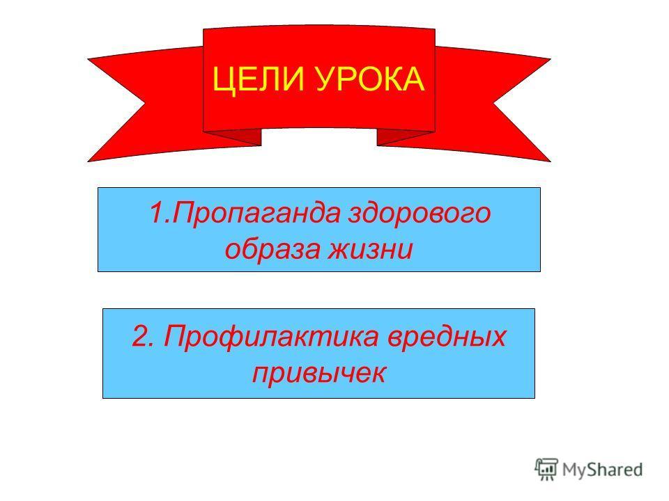 1.Пропаганда здорового образа жизни 2. Профилактика вредных привычек ЦЕЛИ УРОКА
