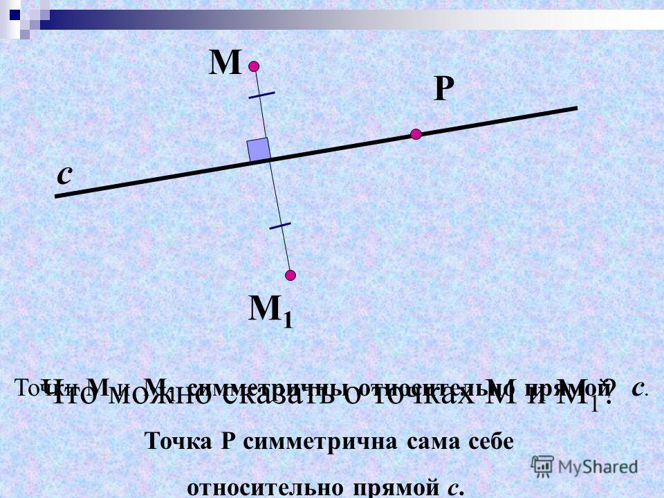 Точки М и М 1 симметричны относительно прямой с. М М 1 с Что можно сказать о точках М и М 1 ? Точка Р симметрична сама себе относительно прямой с. Р