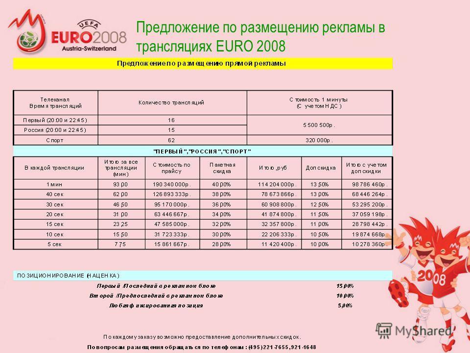 Предложение по размещению рекламы в трансляциях EURO 2008