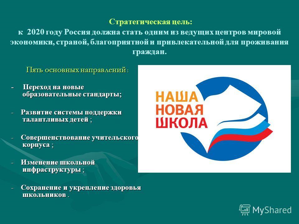 Стратегическая цель: к 2020 году Россия должна стать одним из ведущих центров мировой экономики, страной, благоприятной и привлекательной для проживания граждан. Пять основных направлений : - Переход на новые образовательные стандарты; - Развитие сис