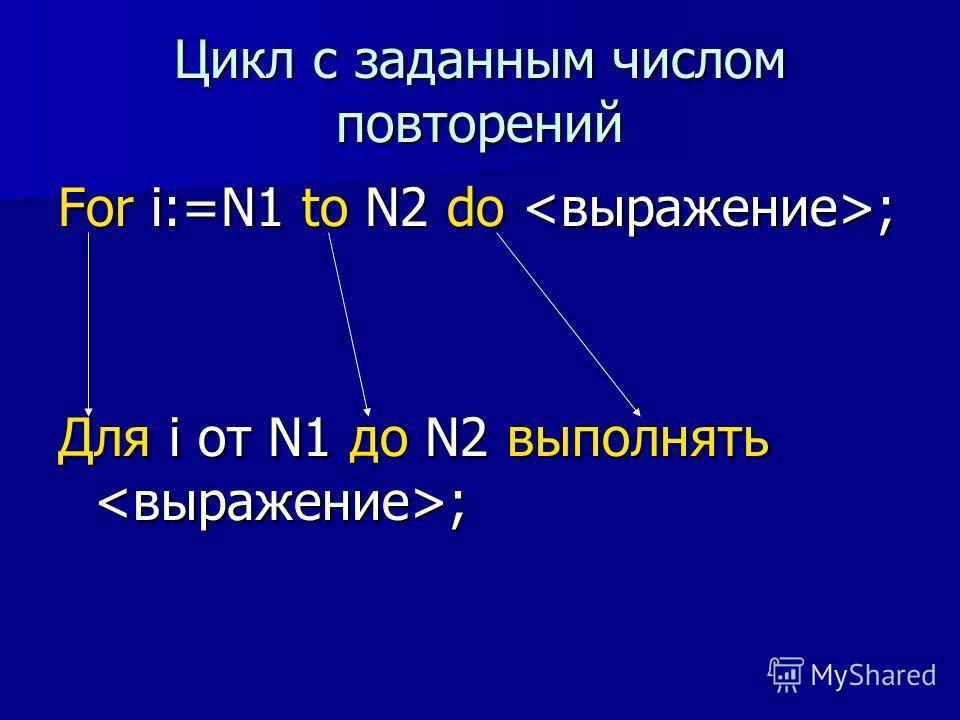 Цикл с заданным числом повторений For i:=N1 to N2 do ; Для і от N1 до N2 выполнять ;