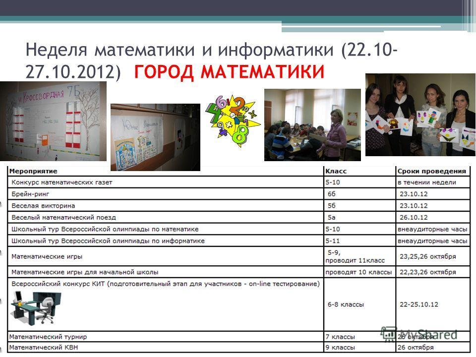 Неделя математики и информатики (22.10- 27.10.2012) ГОРОД МАТЕМАТИКИ