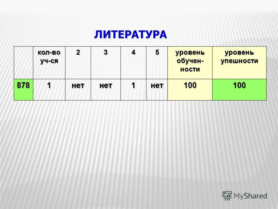 ЛИТЕРАТУРА кол-воуч-ся2345 уровень обучен- ности уровень упешности 8781нетнет1нет100100