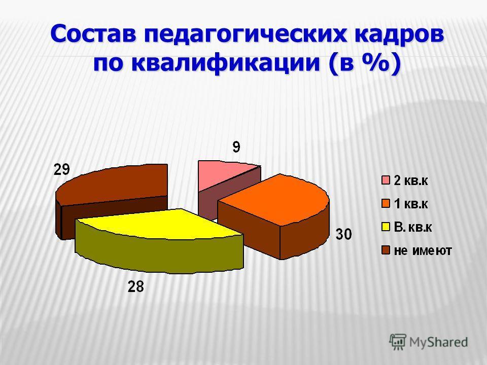 Состав педагогических кадров по квалификации (в %)