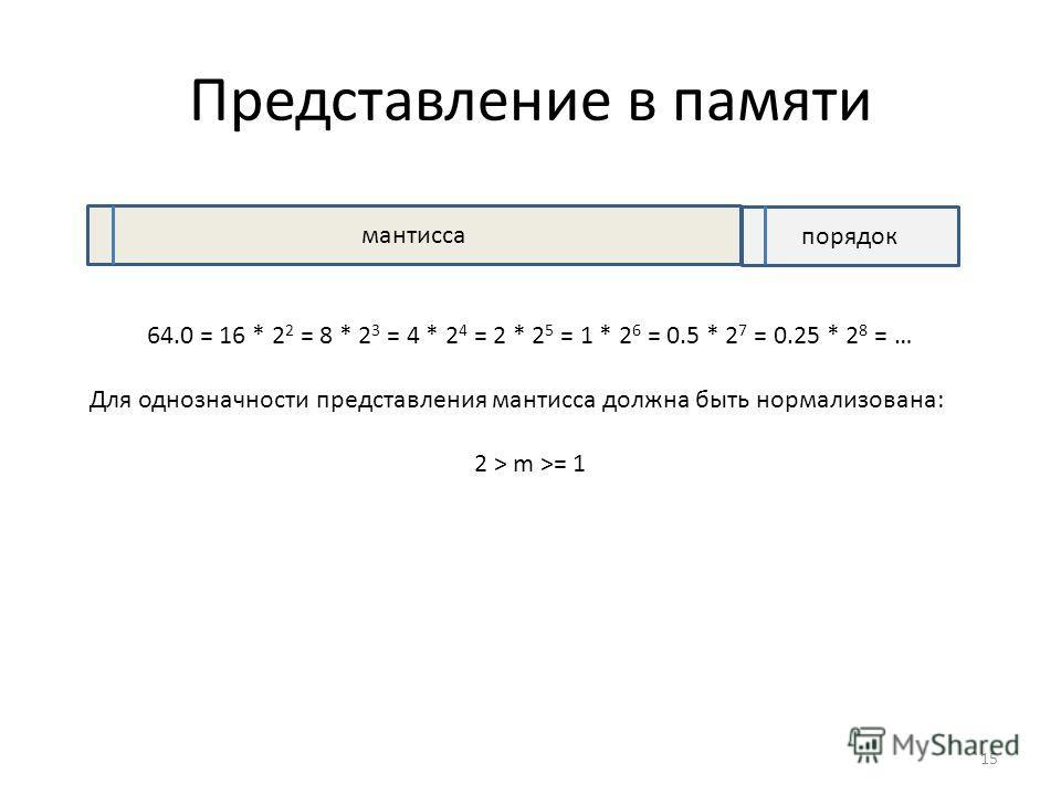 Представление в памяти мантисса порядок 64.0 = 16 * 2 2 = 8 * 2 3 = 4 * 2 4 = 2 * 2 5 = 1 * 2 6 = 0.5 * 2 7 = 0.25 * 2 8 = … Для однозначности представления мантисса должна быть нормализована: 2 > m >= 1 15