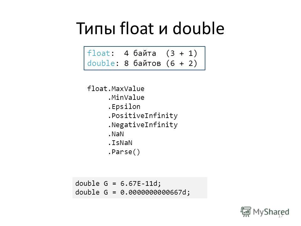Типы float и double float.MaxValue.MinValue.Epsilon.PositiveInfinity.NegativeInfinity.NaN.IsNaN.Parse() float: 4 байта (3 + 1) double: 8 байтов (6 + 2) double G = 6.67E-11d; double G = 0.0000000000667d; 17