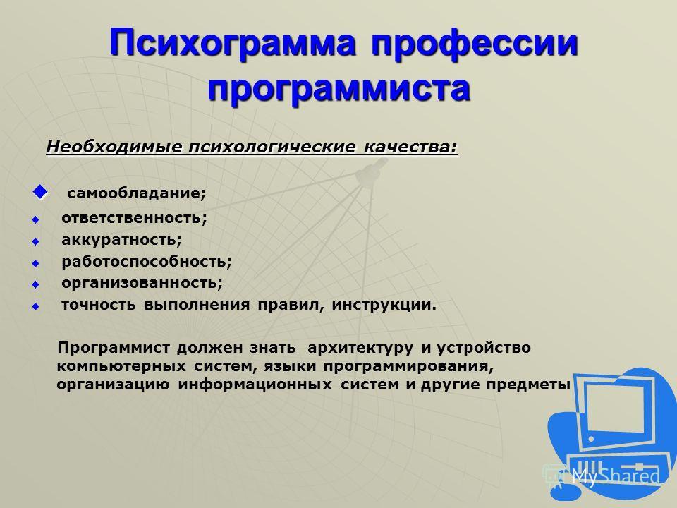 Психограмма профессии программиста Психограмма профессии программиста Необходимые психологические качества: Необходимые психологические качества: самообладание; ответственность; аккуратность; работоспособность; организованность; точность выполнения п