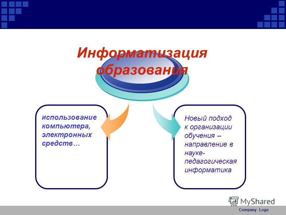 Company Logo И спользование компьютера, электронных средств… Информатизация образования Новый подход к организации обучения – направление в науке- педагогическая информатика