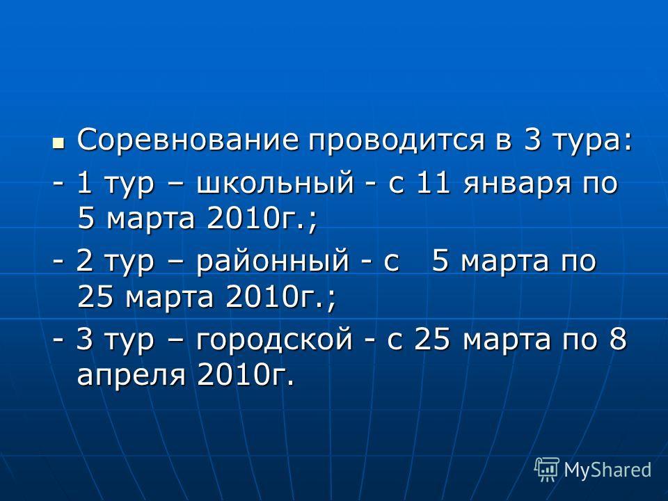 Соревнование проводится в 3 тура: Соревнование проводится в 3 тура: - 1 тур – школьный - с 11 января по 5 марта 2010г.; - 2 тур – районный - с 5 марта по 25 марта 2010г.; - 3 тур – городской - с 25 марта по 8 апреля 2010г.