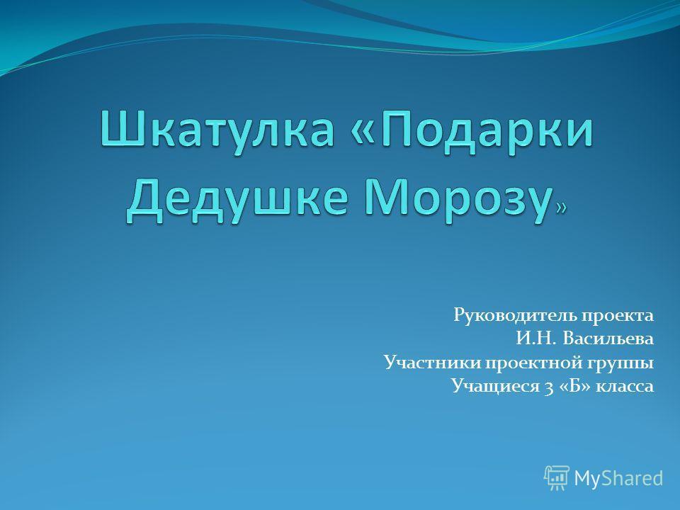 Руководитель проекта И.Н. Васильева Участники проектной группы Учащиеся 3 «Б» класса