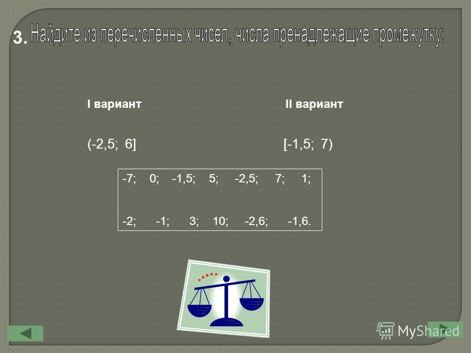 I вариант II вариант (-2,5; 6][-1,5; 7) -7; 0; -1,5; 5; -2,5; 7; 1; -2; -1; 3; 10; -2,6; -1,6. 3.