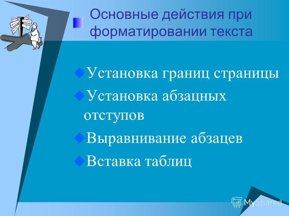Основные действия при форматировании текста Установка границ страницы Установка абзацных отступов Выравнивание абзацев Вставка таблиц