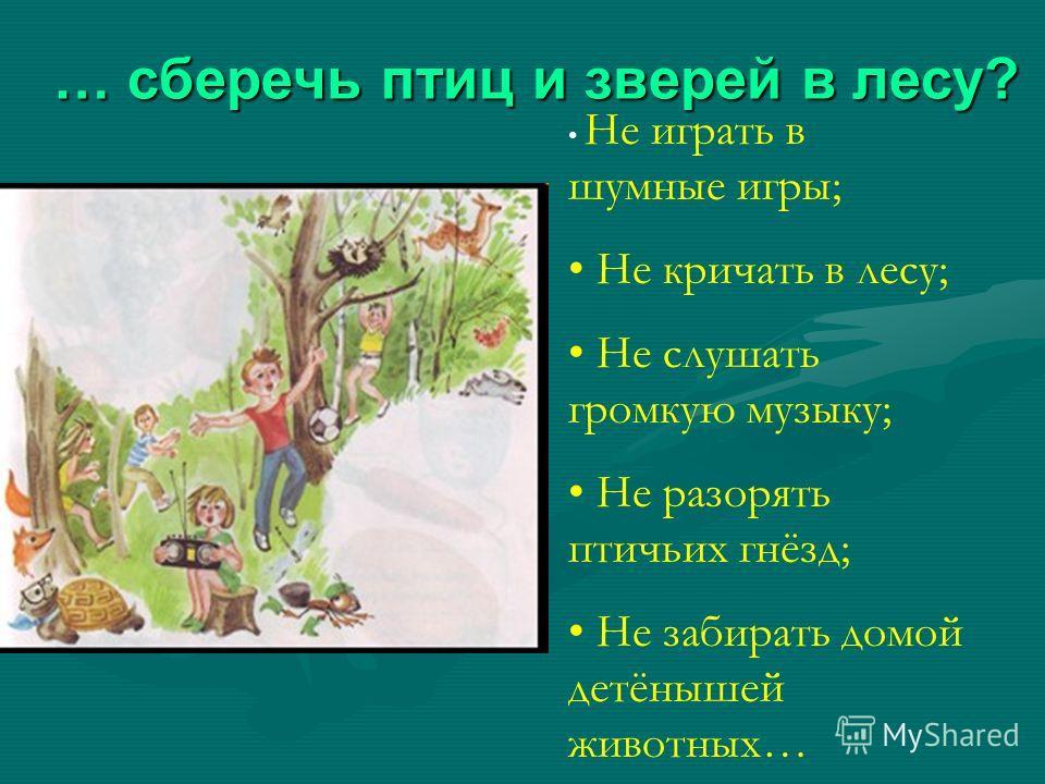 … сберечь птиц и зверей в лесу? Не играть в шумные игры; Не кричать в лесу; Не слушать громкую музыку; Не разорять птичьих гнёзд; Не забирать домой детёнышей животных…