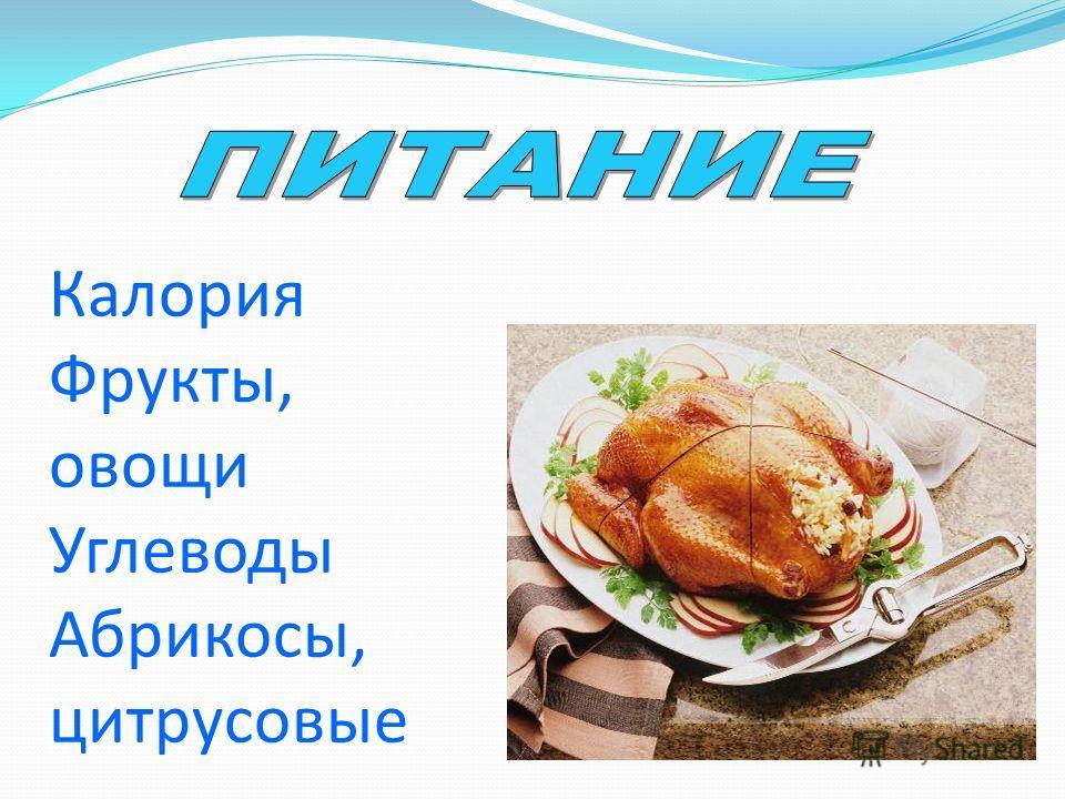 Калория Фрукты, овощи Углеводы Абрикосы, цитрусовые