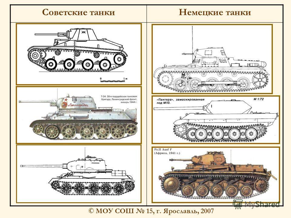 © МОУ СОШ 15, г. Ярославль, 2007 Советские танкиНемецкие танки
