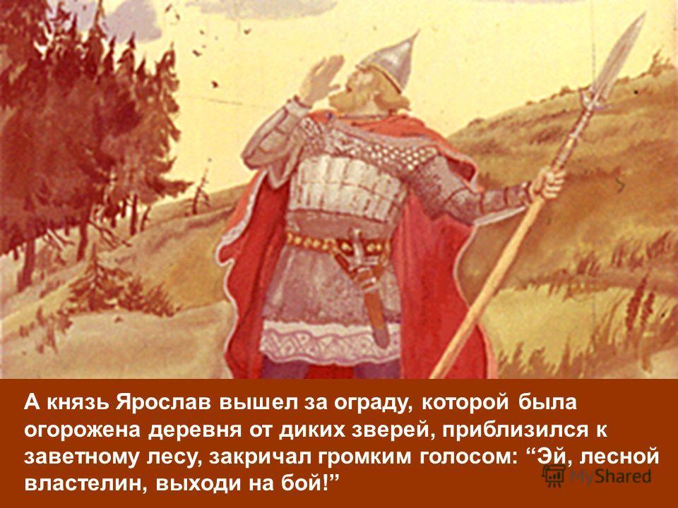 А князь Ярослав вышел за ограду, которой была огорожена деревня от диких зверей, приблизился к заветному лесу, закричал громким голосом: Эй, лесной властелин, выходи на бой!