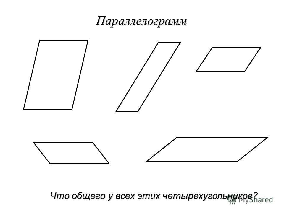 Параллелограмм Что общего у всех этих четырехугольников?