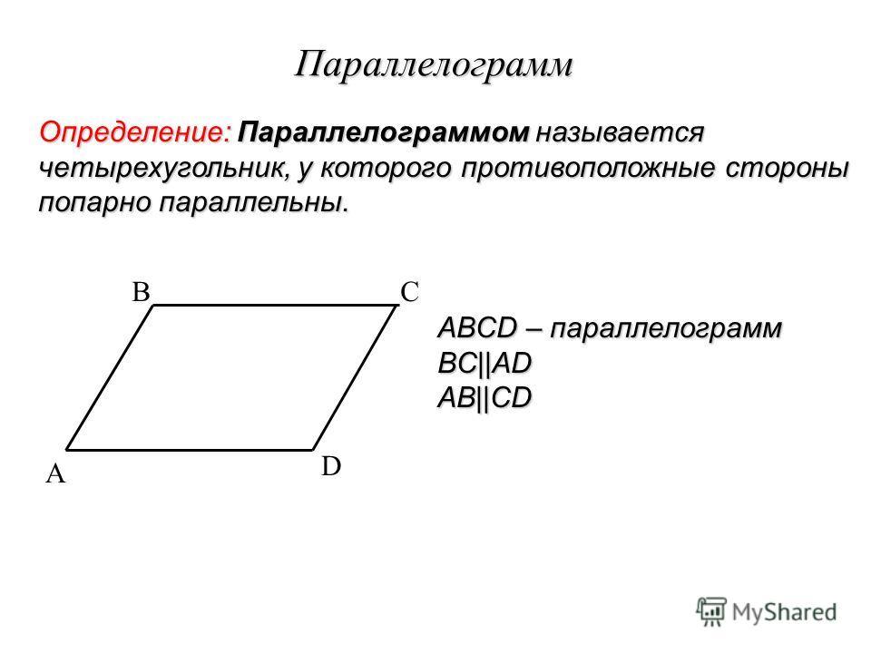 Параллелограмм Определение: Параллелограммом называется четырехугольник, у которого противоположные стороны попарно параллельны. A BC D ABCD – параллелограмм BC||ADAB||CD