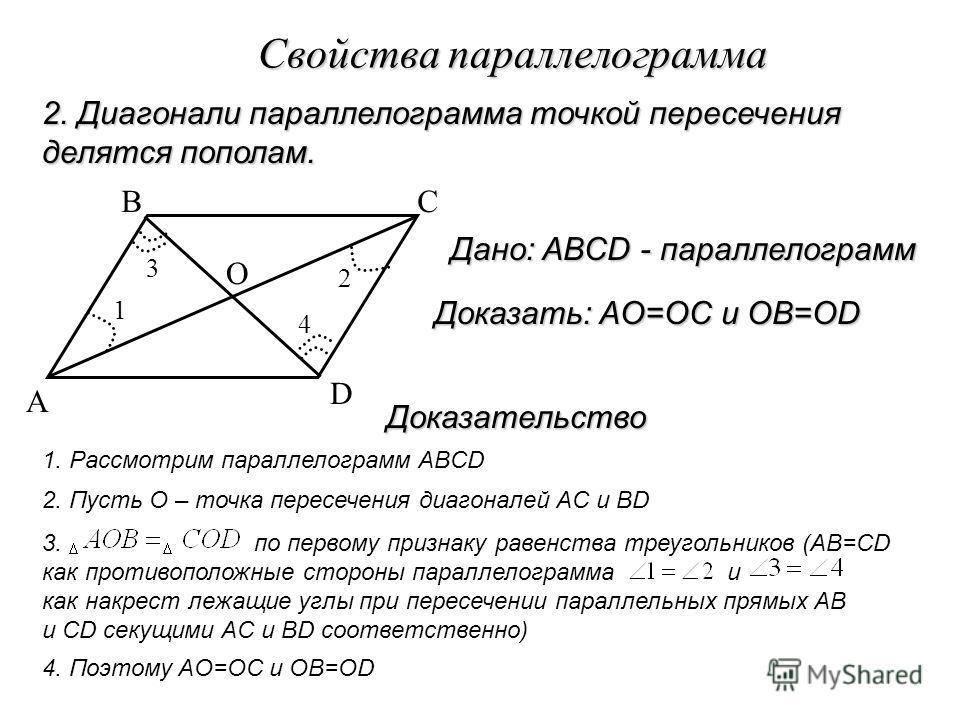 Свойства параллелограмма 2. Диагонали параллелограмма точкой пересечения делятся пополам. A BC D 1 4 3 2 O Дано: ABCD - параллелограмм 1. Рассмотрим параллелограмм ABCD 2. Пусть O – точка пересечения диагоналей AC и BD 3. по первому признаку равенств